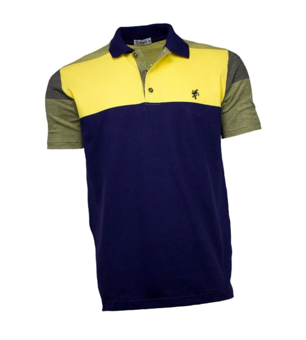 Camisa Polo Masculina Azul Marinho Amarelo (0)