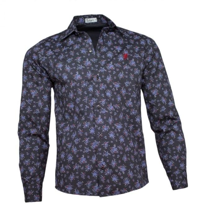 Camisa Floral Masculina Azul Marinho (0)