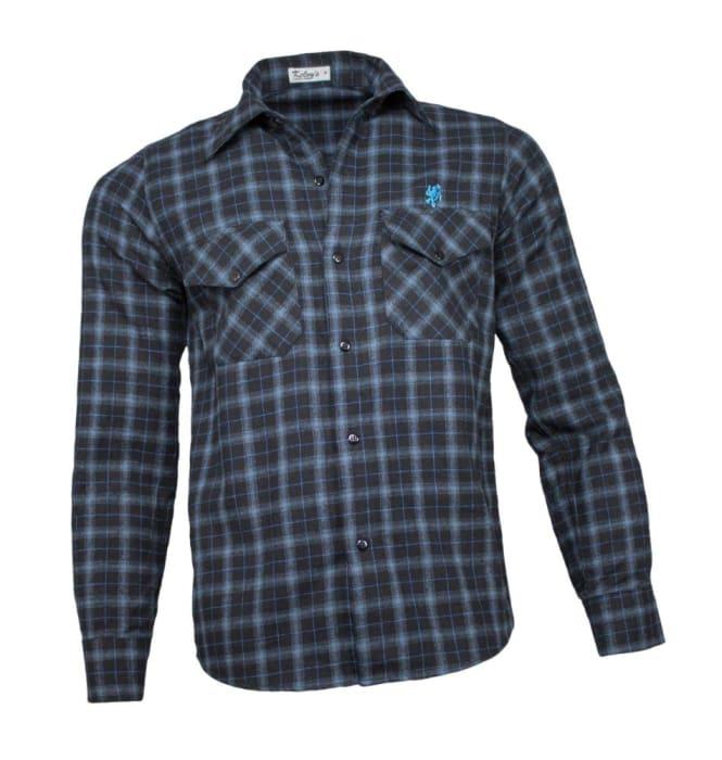 Camisa Xadrez Masculina Flanela Preto Azul (0)
