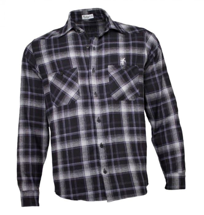 Camisa Xadrez Masculina Flanela Preto Cinza (0)