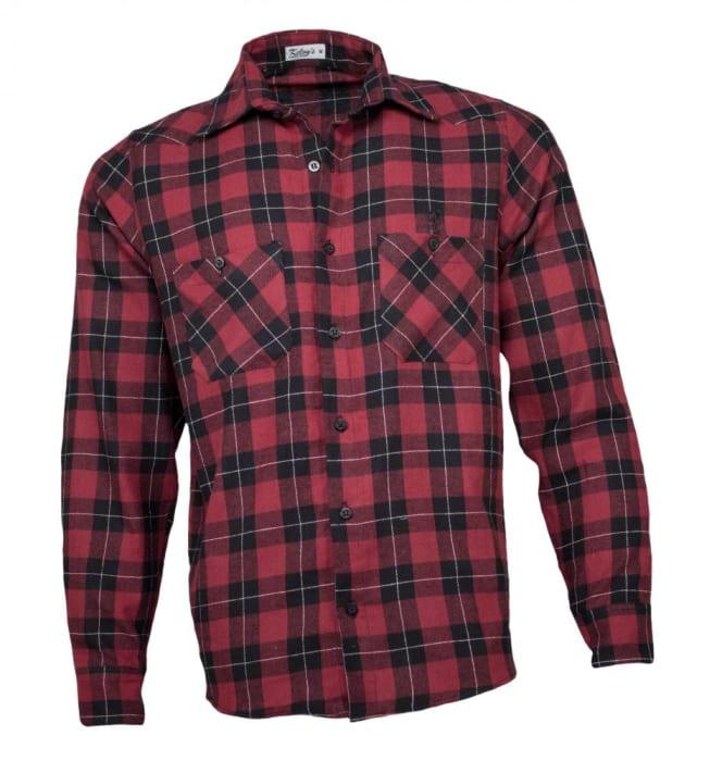 Camisa Xadrez Masculina Flanela Vermelho Preto  (0)