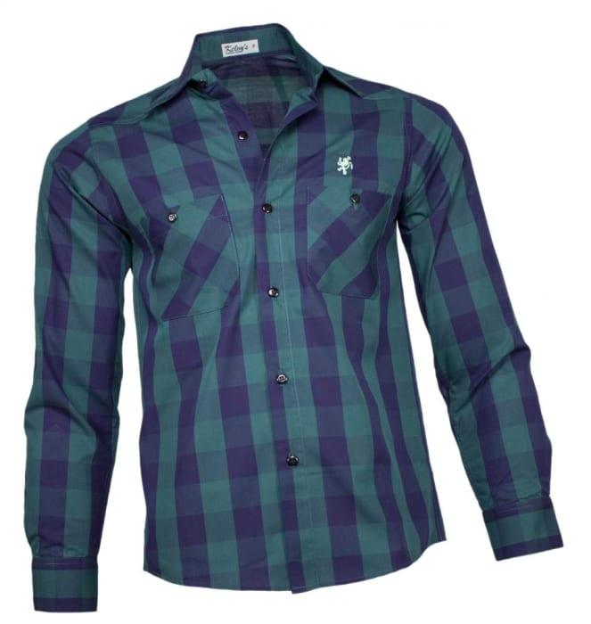 Camisa Xadrez Masculina Verde Azul (0)