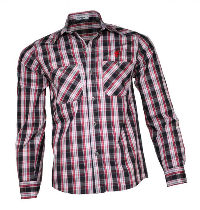 Camisa Xadrez Masculina Vermelho Cinza (0)