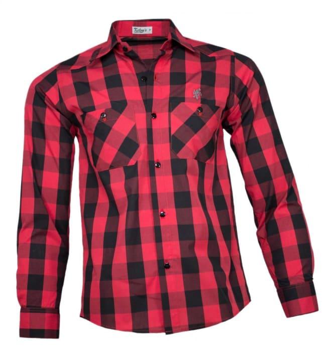 Camisa Xadrez Masculina Vermelho Preto (0)