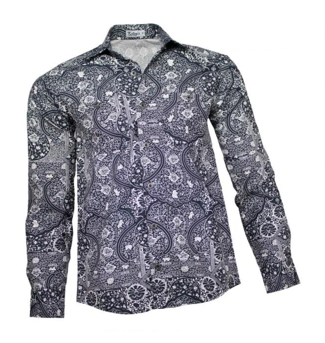 Camisa Floral Masculina Azul Marinho Tropical (0)