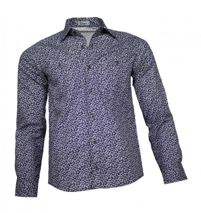 Camisa Floral Masculina Azul Marinho Folhas (0)