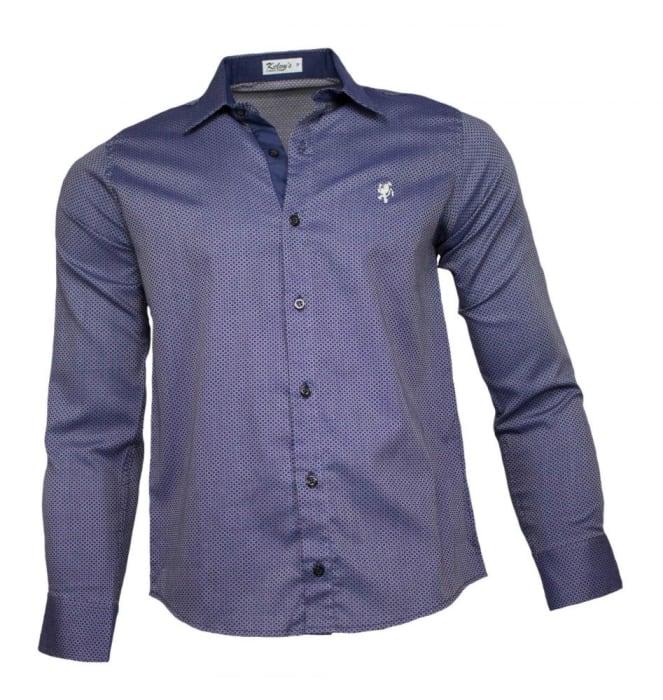 Camisa Social Masculina Azul Marinho Maquinetado (0)