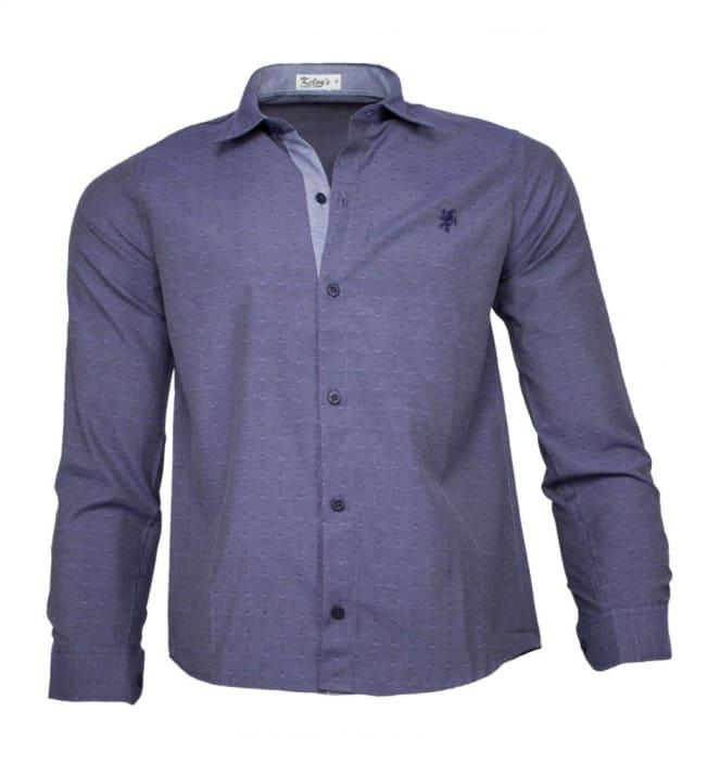 Camisa Social Masculina Azul Maquinetado (0)