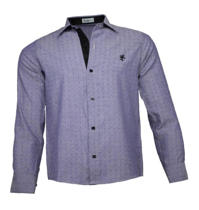 Camisa Social Masculina Cinza Maquinetado (0)