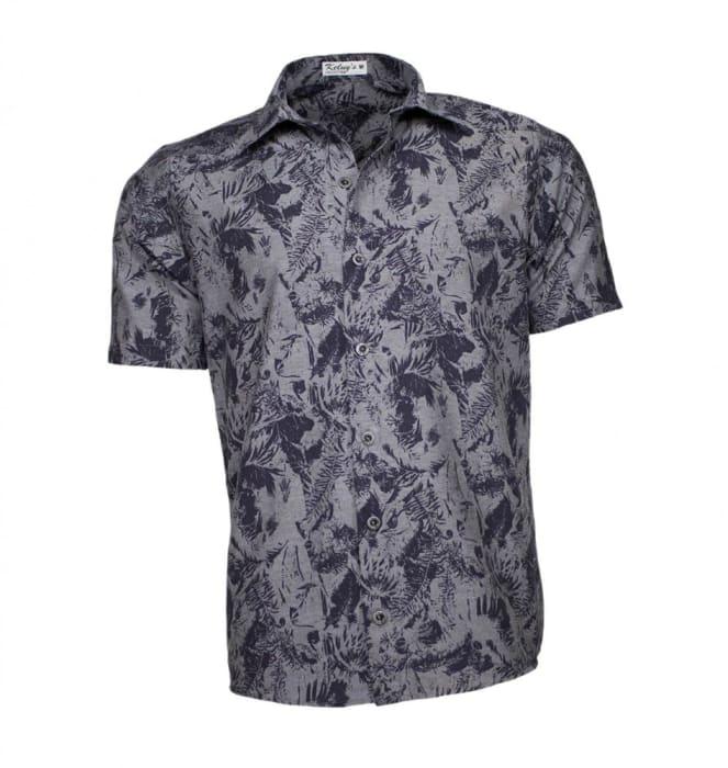 Camisa Floral Masculina Cinza Folhagem (0)