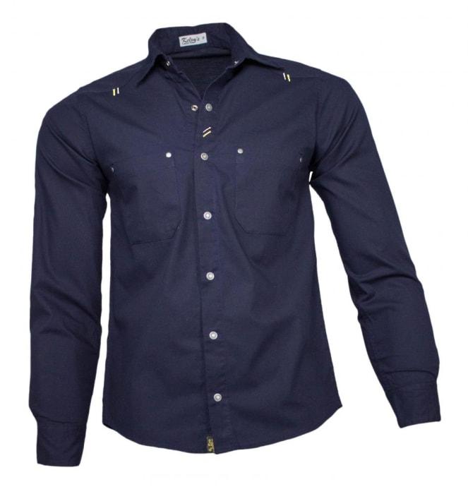 Camisa Sarja Masculina Azul Marinho (0)