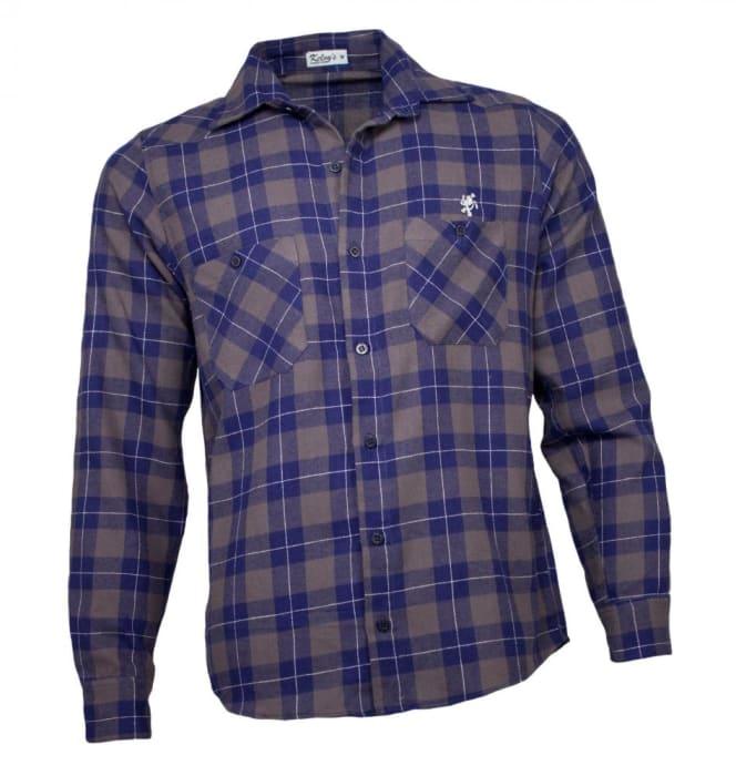 Camisa Xadrez Masculina Flanela Cinza Azul (0)