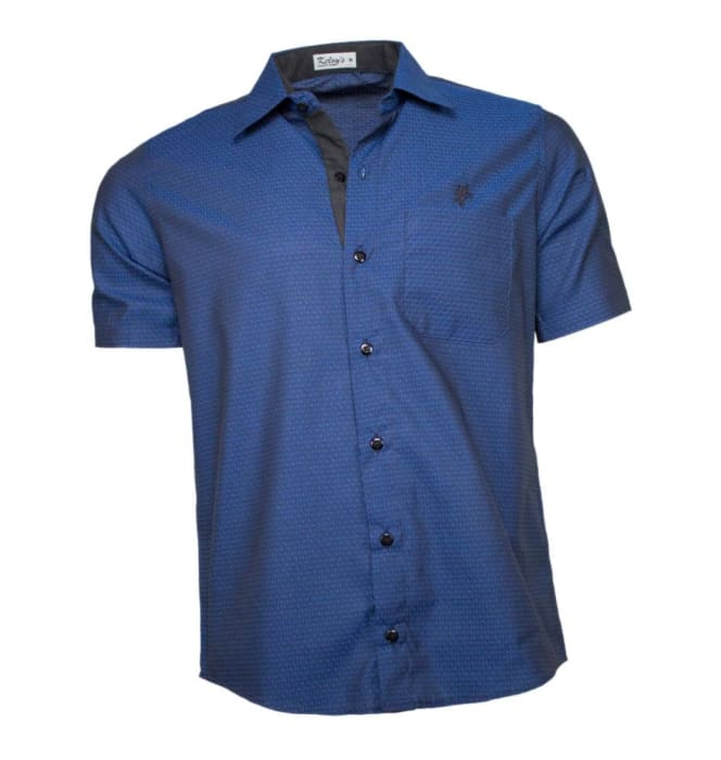 Camisa Masculina Manga Curta Azul Escuro (0)