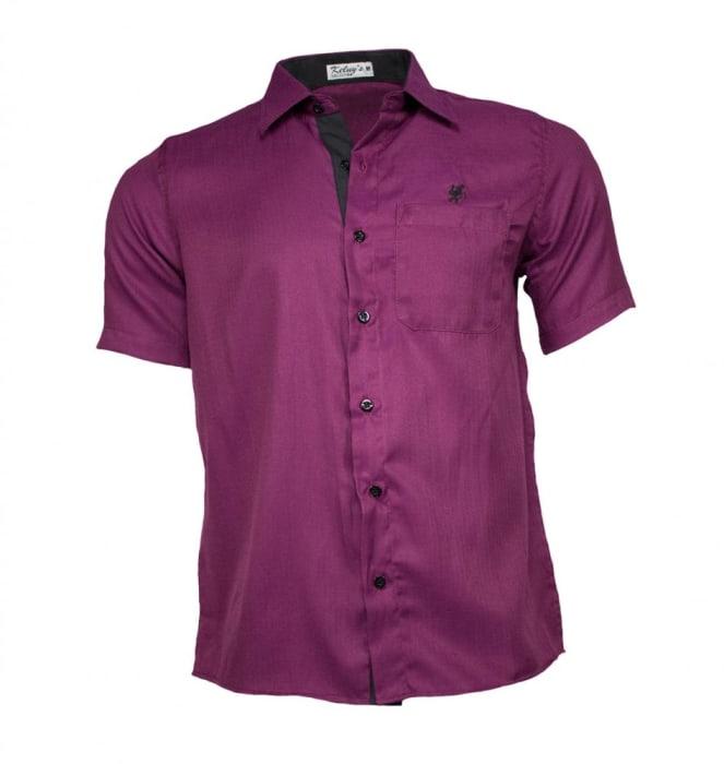 Camisa Masculina Manga Curta Vinho (0)