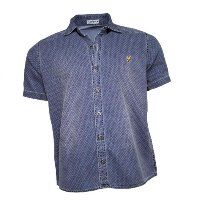 Camisa Jeans Masculina Manga Curta Estampada (0)