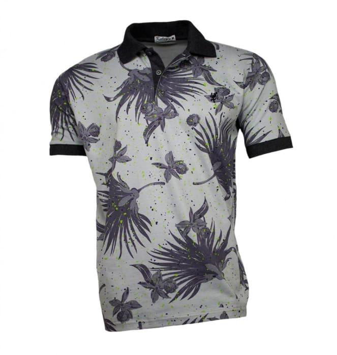Camisa Polo Masculina Cinza Folhagem (0)