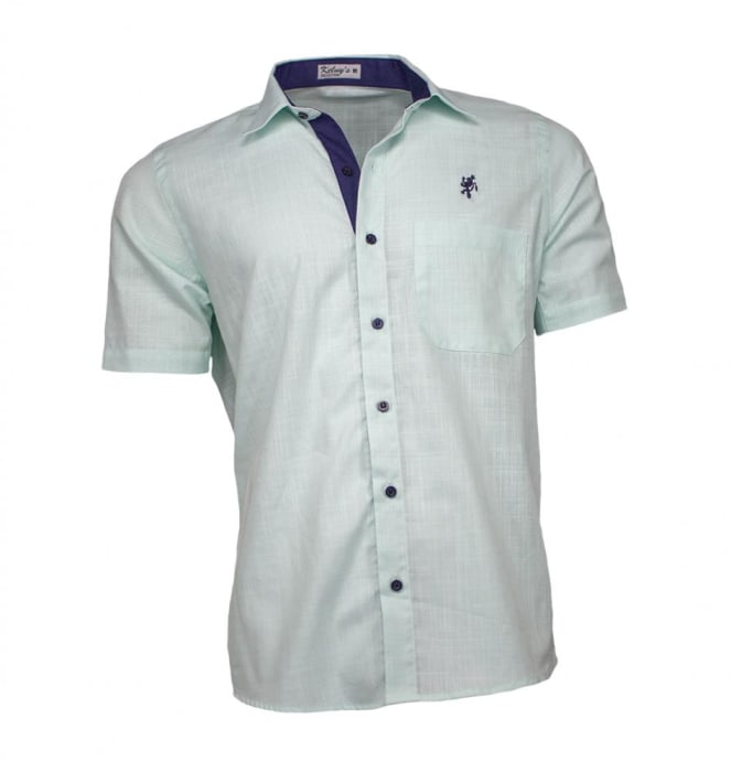 Camisa Masculina Manga Curta Verde Menta (0)