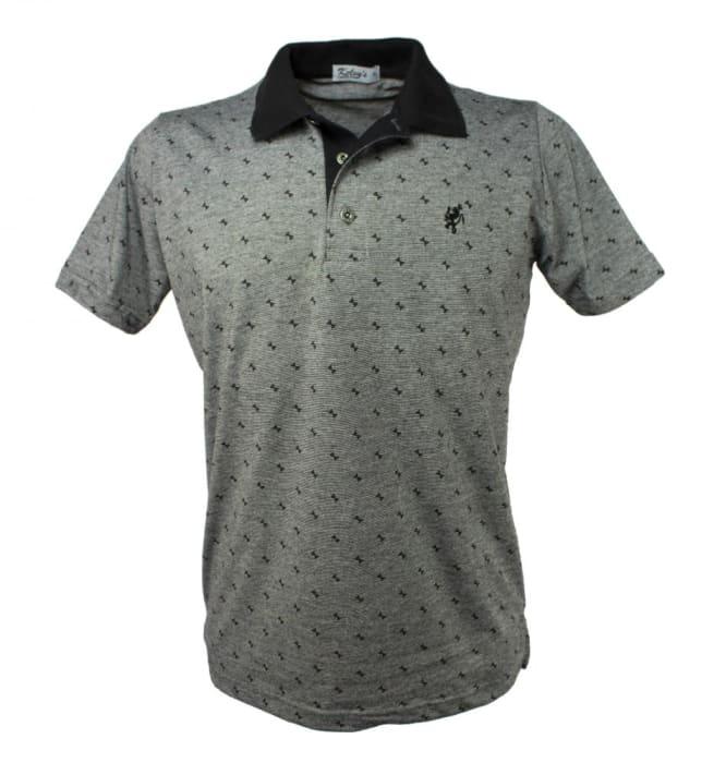 Camisa Polo Masculina Cinza Estampada (0)