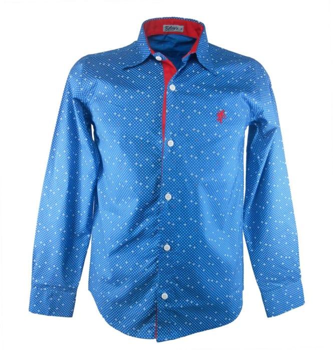 Camisa Estampada Azul Punho Vermelho (0)