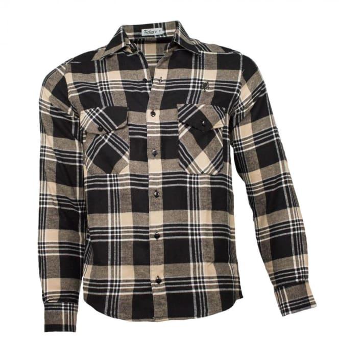 Camisa Xadrez Flanela Preto Bege (0)