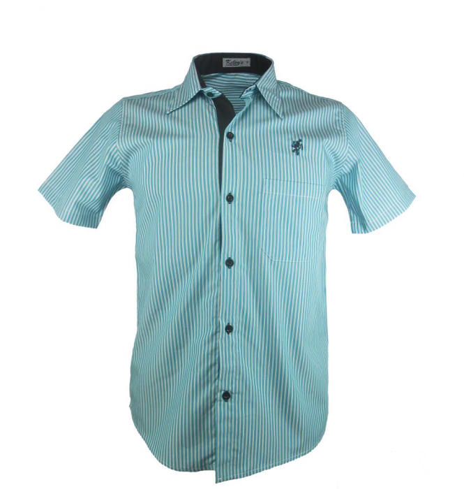 Camisa Manga Curta Listrada Verde-Água (0)