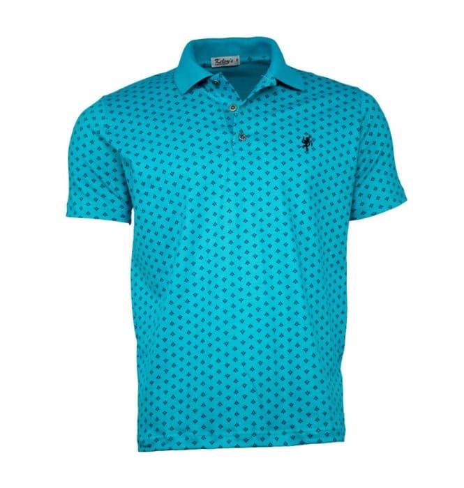 Camisa Polo Masculina Estampada Verde Agua (0)