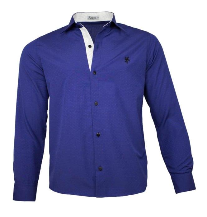 Camisa Social Masculina Azul Royal Maquinetado (0)