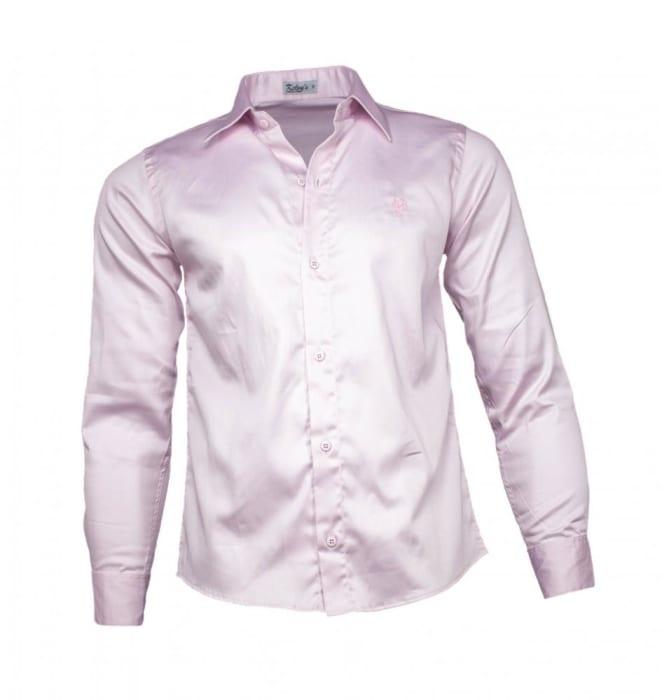 Camisa Social Masculina Acetinada Rosa Claro (0)