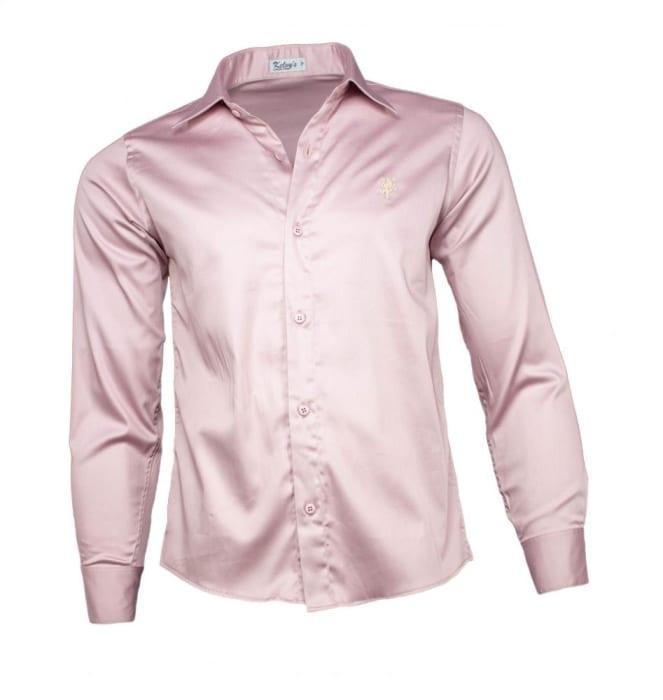 Camisa Social Masculina Acetinada Rose (0)