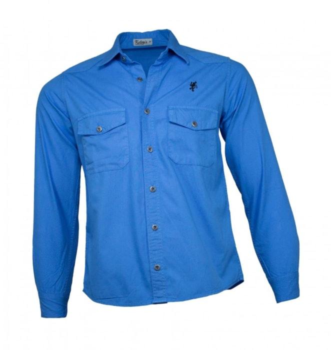 Camisa Sarja Masculina Azul Royal (0)