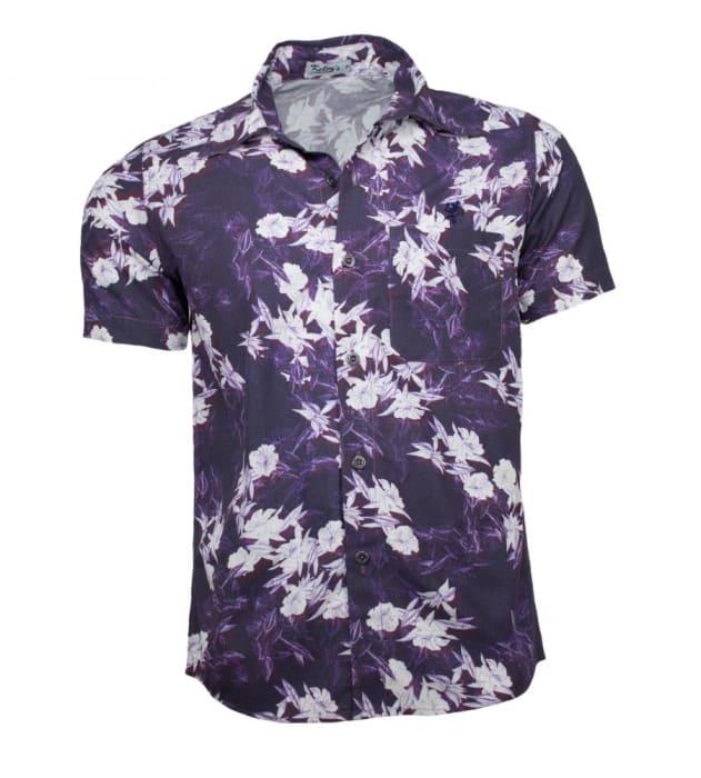 Camisa Floral Masculina Roxa (0)