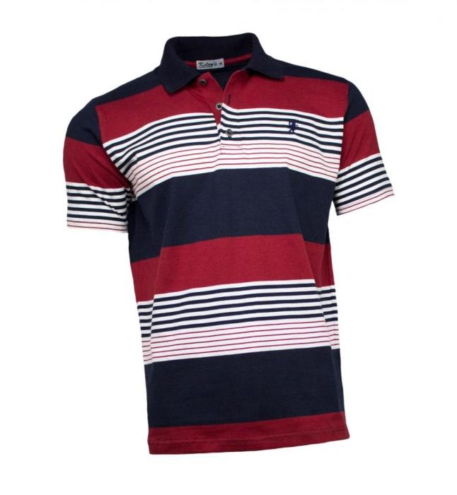 Camisa Polo Masculina Listrada Azul Vermelho (0)