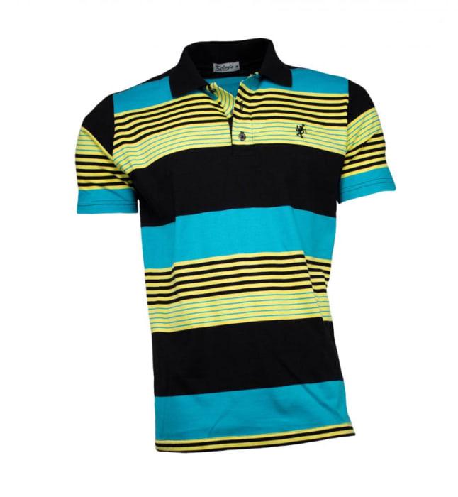 Camisa Polo Masculina Listrada Azul Amarelo (0)