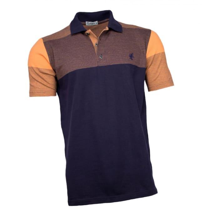Camisa Polo Masculina Azul Marinho Laranja (0)