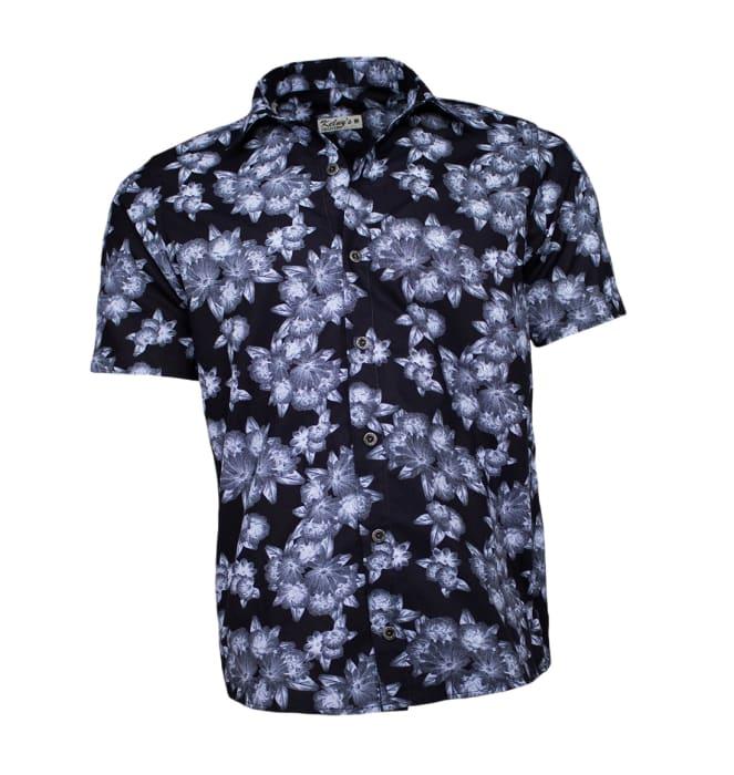 Camisa-florida-azul-marinho-flores
