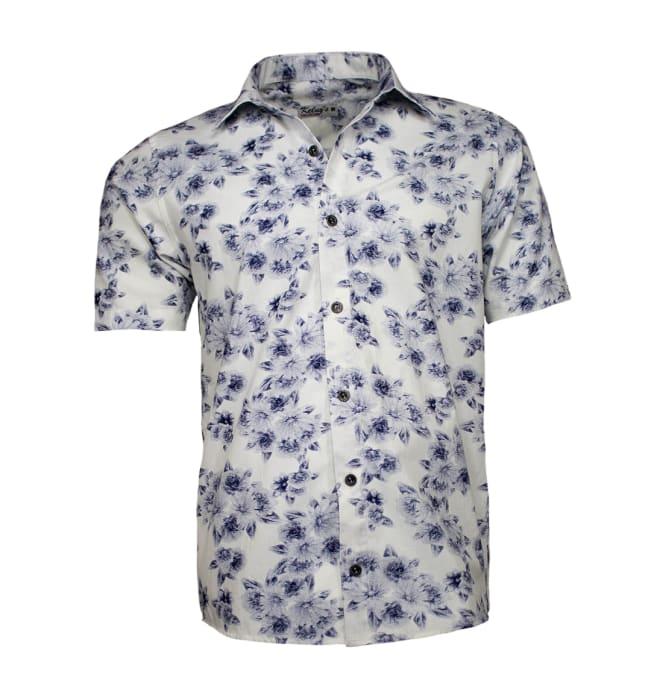 Camisa Floral Masculina Branca Flores