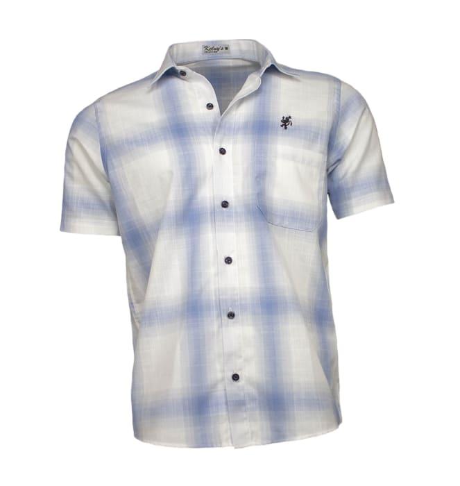 camisa-masculina-manga-curta-quadriculada-azul
