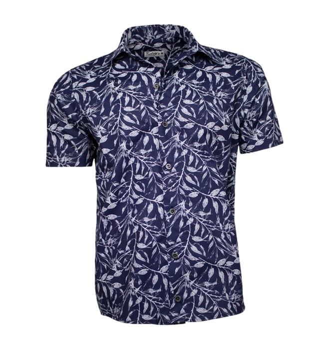 Camisa-florida-azul-marinho-folhas