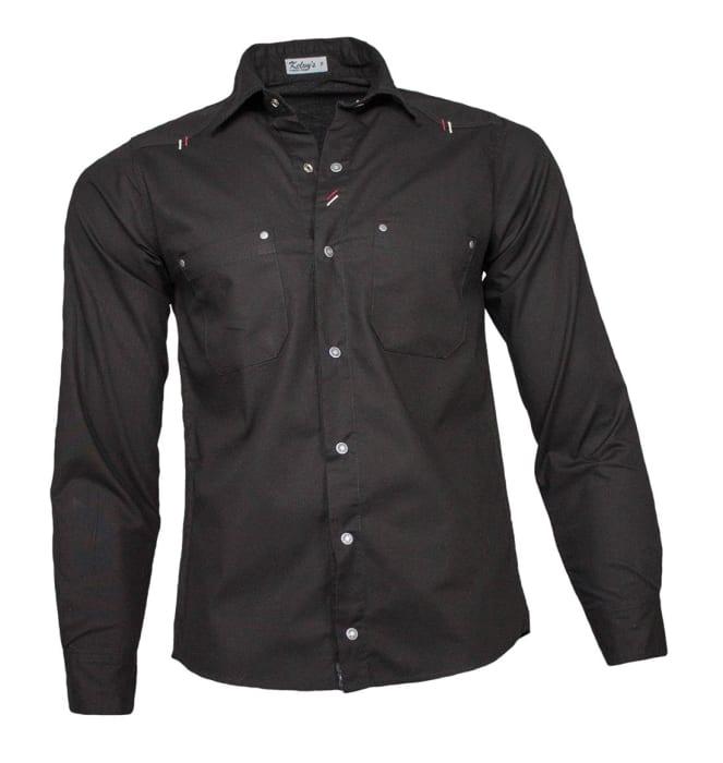 camisa-sarja-masculina-manga-longa-preta-nova