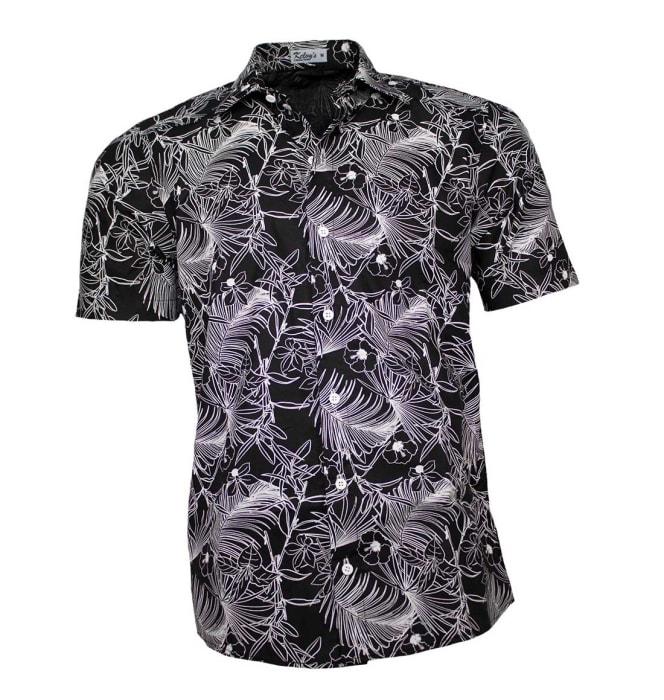 Camisa-floral-preta-folhagem