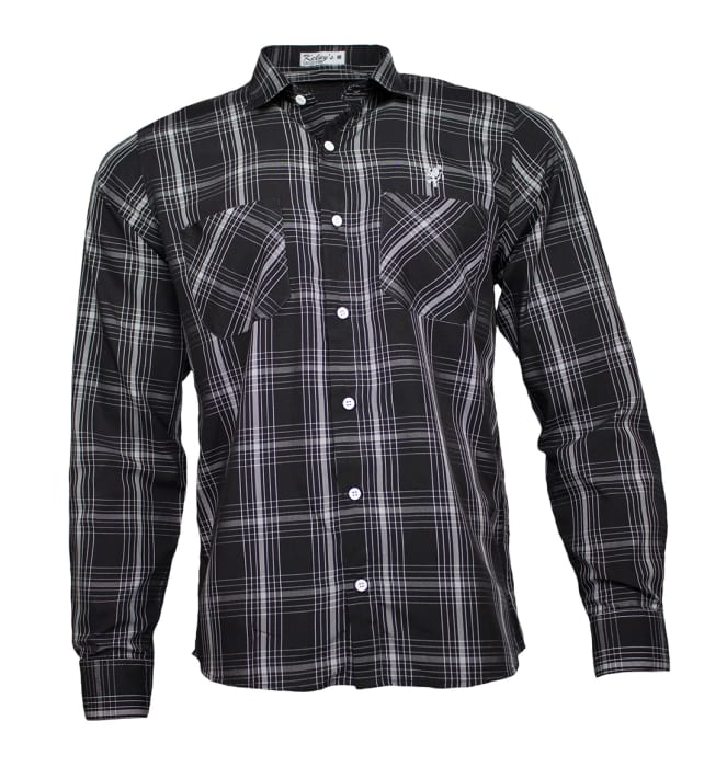 camisa-xadrez-preta-manga-longa