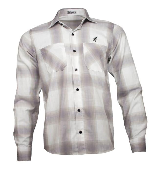 camisa-quadriculada-marrom-manga-longa