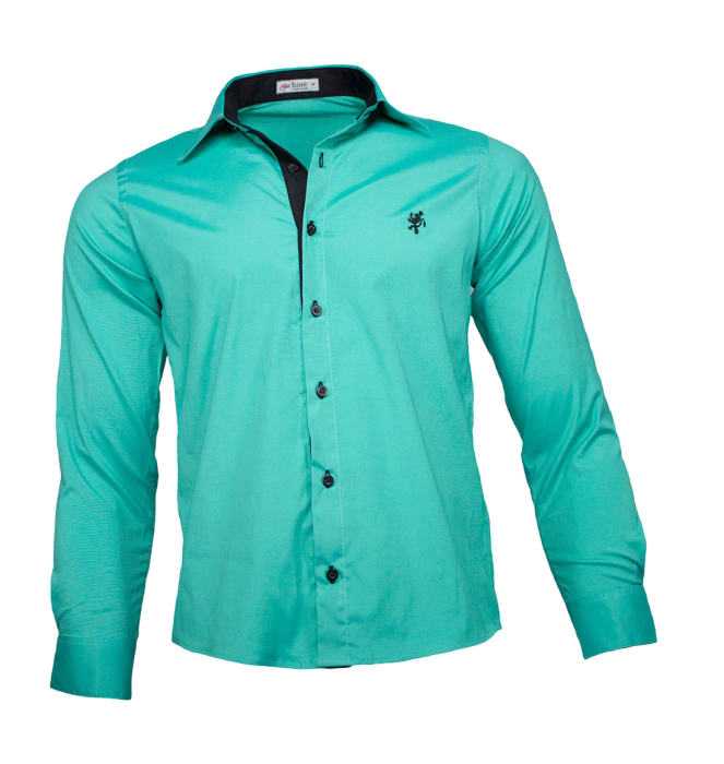 camisa-social-masculina-verde-preto