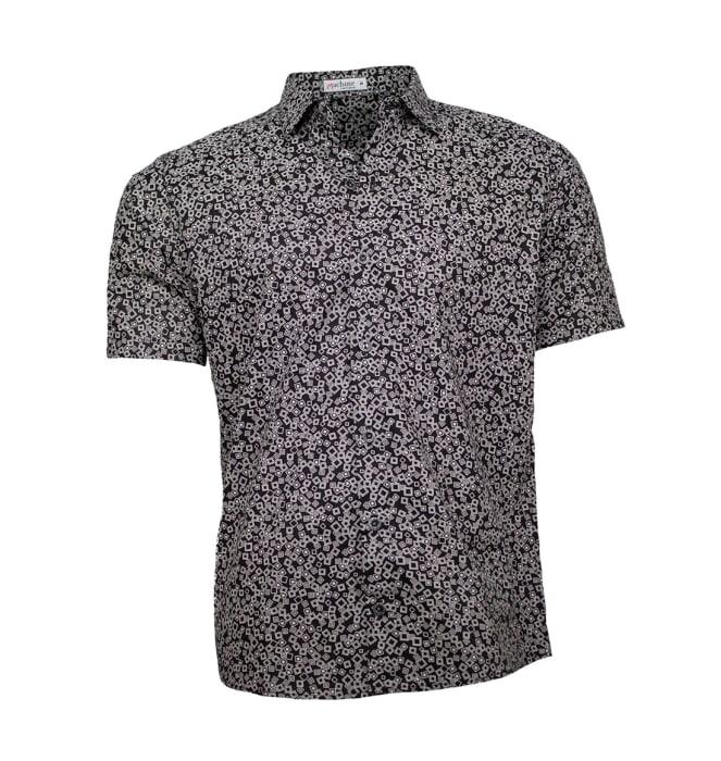 Camisa-estampada-masculina-quadradinhos-preto