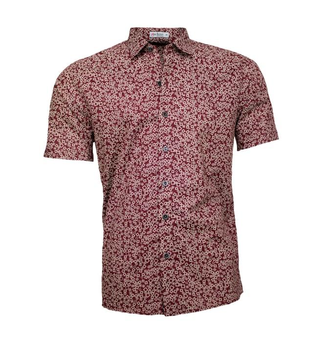 Camisa-estampada-masculina-quadradinhos-vinho