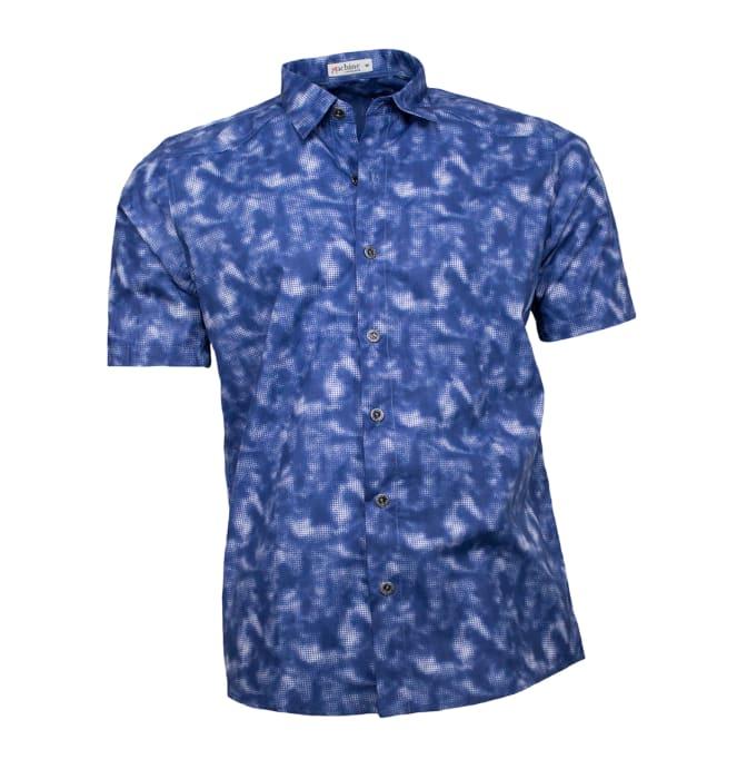 Camisa-estampada-masculina-marmorizada-azul